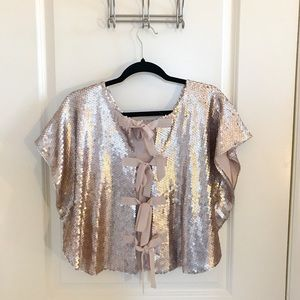 Anthro Aryn K Blush Sequined Top w/back 🎀 Tie